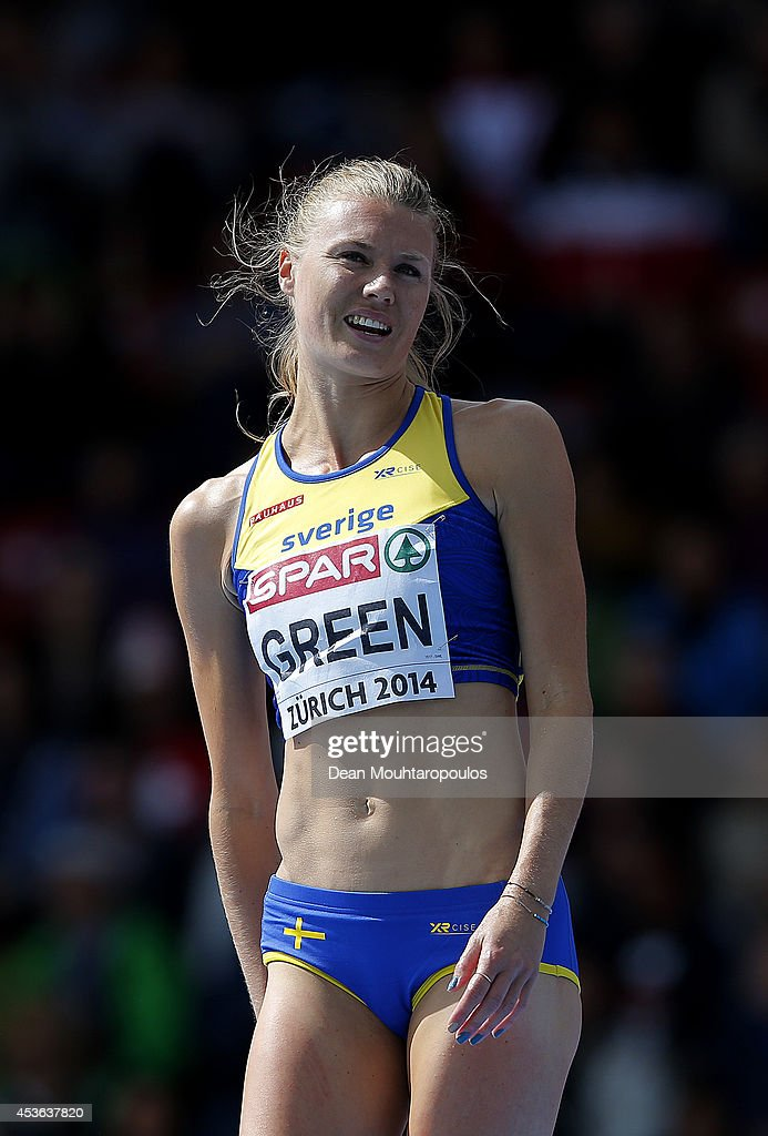 Emma Green of Sweden looks on as she competes in the Women's High Jump qualification during day four of the 22nd European Athletics Championships at Stadium Letzigrund on August 15, 2014 in Zurich, Switzerland.