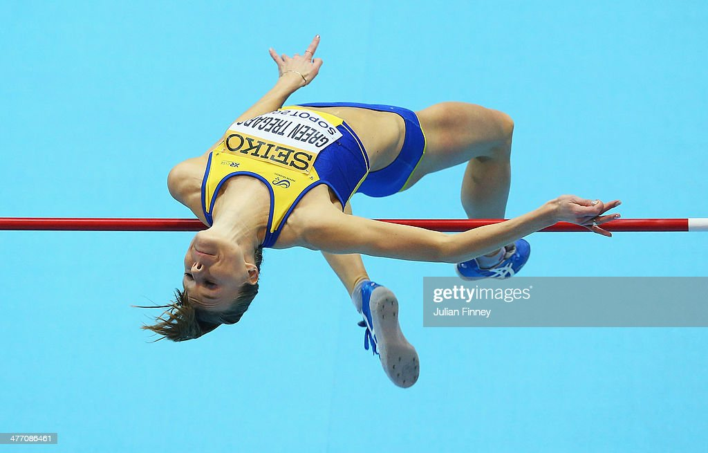 <a gi-track='captionPersonalityLinkClicked' href=/galleries/search?phrase=Emma+Green+Tregaro&family=editorial&specificpeople=7854658 ng-click='$event.stopPropagation()'>Emma Green Tregaro</a> of Sweden competes in the Women's High Jump qualification during day one of the IAAF World Indoor Championships at Ergo Arena on March 7, 2014 in Sopot, Poland.
