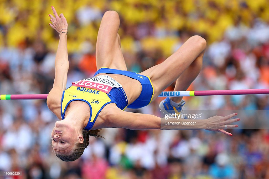 <a gi-track='captionPersonalityLinkClicked' href=/galleries/search?phrase=Emma+Green+Tregaro&family=editorial&specificpeople=7854658 ng-click='$event.stopPropagation()'>Emma Green Tregaro</a> of Sweden competes in the Women's High Jump final during Day Eight of the 14th IAAF World Athletics Championships Moscow 2013 at Luzhniki Stadium on August 17, 2013 in Moscow, Russia.