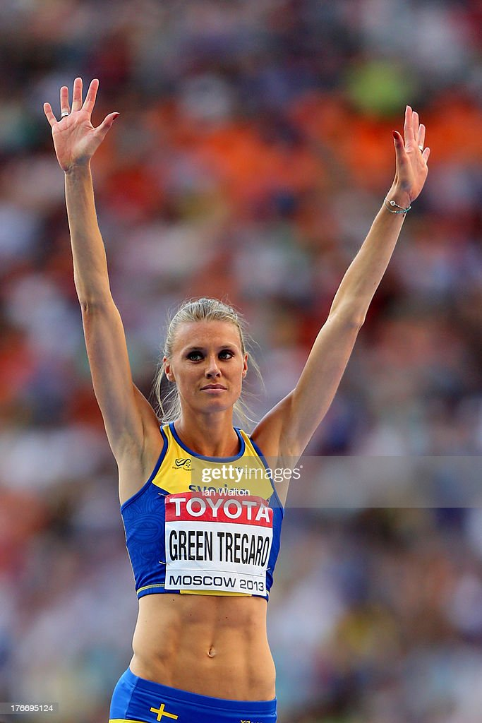 <a gi-track='captionPersonalityLinkClicked' href=/galleries/search?phrase=Emma+Green+Tregaro&family=editorial&specificpeople=7854658 ng-click='$event.stopPropagation()'>Emma Green Tregaro</a> of Sweden reacts as she competes in the Women's High Jump final during Day Eight of the 14th IAAF World Athletics Championships Moscow 2013 at Luzhniki Stadium on August 17, 2013 in Moscow, Russia.