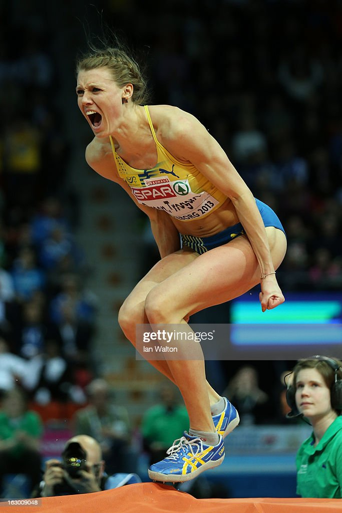 Emma Green Tregaro of Sweden wins the bronze in the Women's High Jump Final during day three of European Indoor Athletics at Scandinavium on March 3, 2013 in Gothenburg, Sweden.