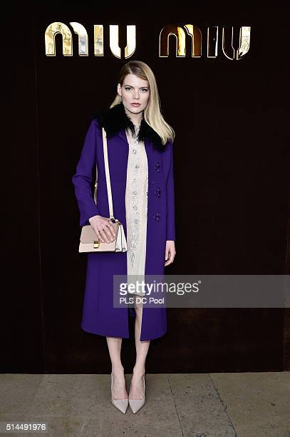 Emma Greenwell attends the Miu Miu show as part of the Paris Fashion Week Womenswear Fall / Winter 2016 on March 9 2016 in Paris France