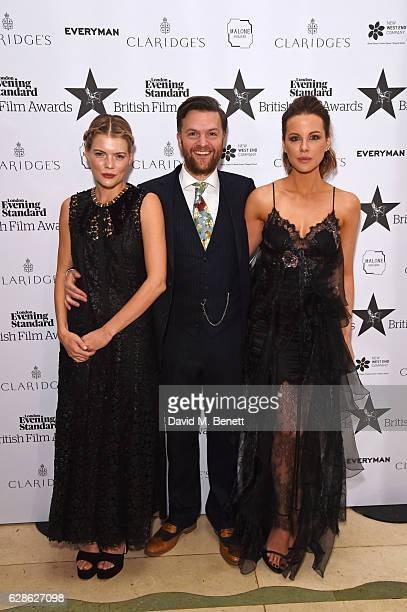 Emma Greenwell Tom Bennett and Kate Beckinsale arrive at The London Evening Standard British Film Awards at Claridge's Hotel on December 8 2016 in...