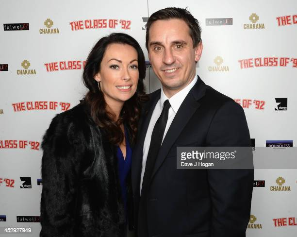 Emma Hadfield and Gary Neville attend the Class Of 92 world premiere afterparty at Chakana on December 1 2013 in London England