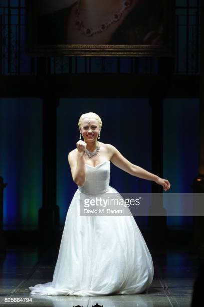 Emma Hatton bows at the curtain call during the press night performance of 'Evita' at The Phoenix Theatre on August 2 2017 in London England