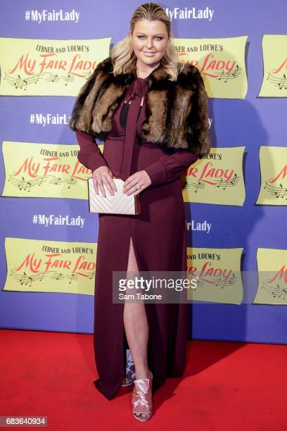 Emma Hawkins arrives ahead of opening night of My Fair Lady at Regent Theatre on May 16 2017 in Melbourne Australia
