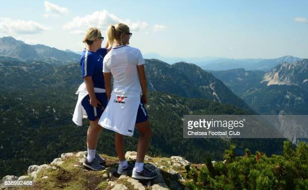 Emma Hayes and Katie Chapman on Mount Krippenstein on August 25 2017 in Schladming Austria