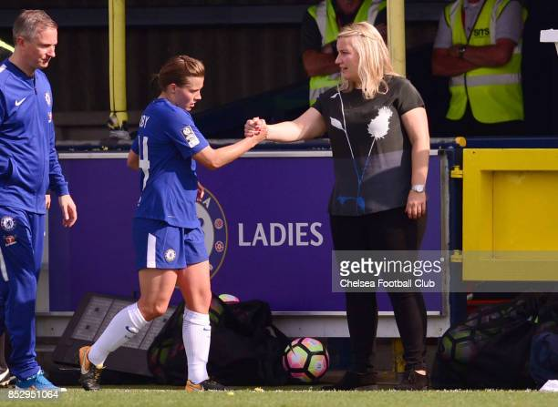 Emma Hayes manager of Chelsea and Fran Kirby of Chelsea during a WSL Match between Chelsea Ladies and Bristol Academy Women on September 24 2017 in...