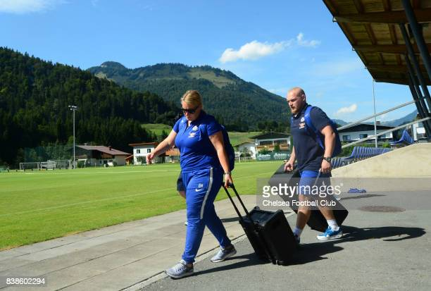 Emma Hayes manager of Chelsea arrives before a Pre Season Friendly between Chelsea Ladies and Wolfsburg Women on August 24 2017 in Kitzbuehel Austria