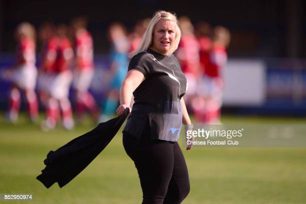 Emma Hayes manager of Chelsea during a WSL Match between Chelsea Ladies and Bristol Academy Women on September 24 2017 in Kingsmeadow England