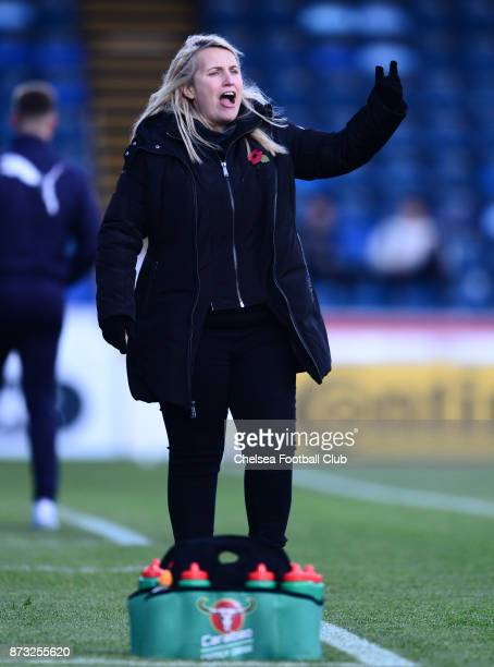 Emma Hayes manager of Chelsea during a WSL match between Reading Women and Chelsea Ladies at Adams Park on October 12 2017 in Wycombe England