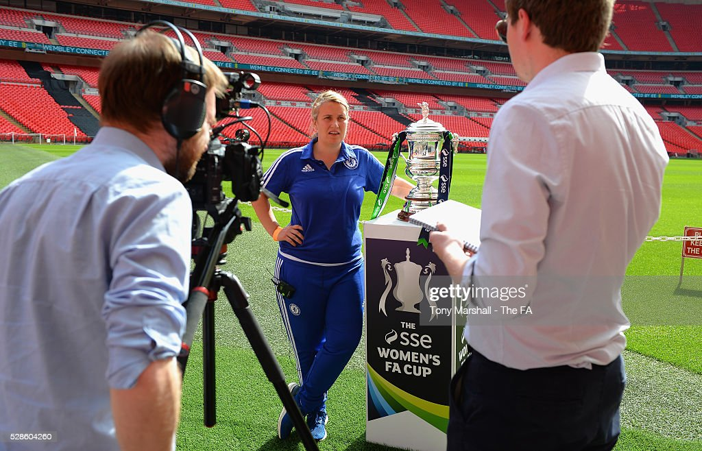 Emma Hayes, manager of Chelsea FC Ladies is interviewed during the SSE Women's FA Cup Final - Wembley Media Day at Wembley Stadium on May 6, 2016 in London, England.