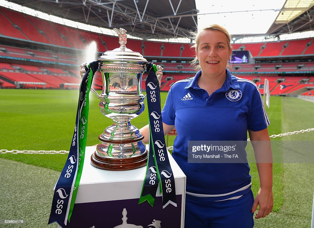 Emma Hayes, manager of Chelsea FC Ladies poses with the SSE Women's FA Cup during the SSE Women's FA Cup Final - Wembley Media Day at Wembley Stadium on May 6, 2016 in London, England.