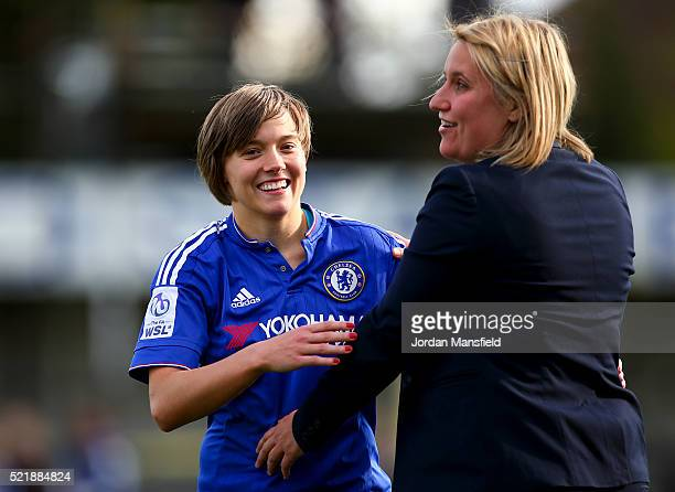 Emma Hayes manager of Chelsea Ladies embraces Fran Kirby of Chelsea after their victory in the SSE Women's FA Cup Semifinal match between Chelsea...