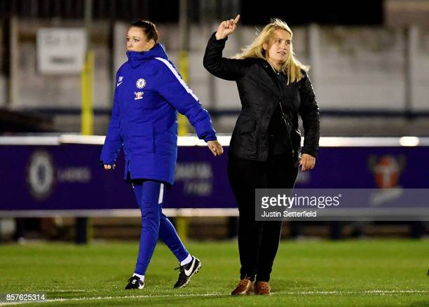 Emma Hayes manager of of Chelsea Ladies celebrates after the UEFA Womens Champions League Round of 32 First Leg match between Chelsea Ladies and...