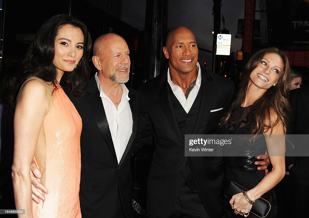Emma Heming, actor Bruce Willis, Dwayne ?'The Rock'? Johnson and Lauren Hashian attend the premiere of Paramount Pictures' 'G.I. Joe:Retaliation' at TCL Chinese Theatre on March 28, 2013 in Hollywood, California.