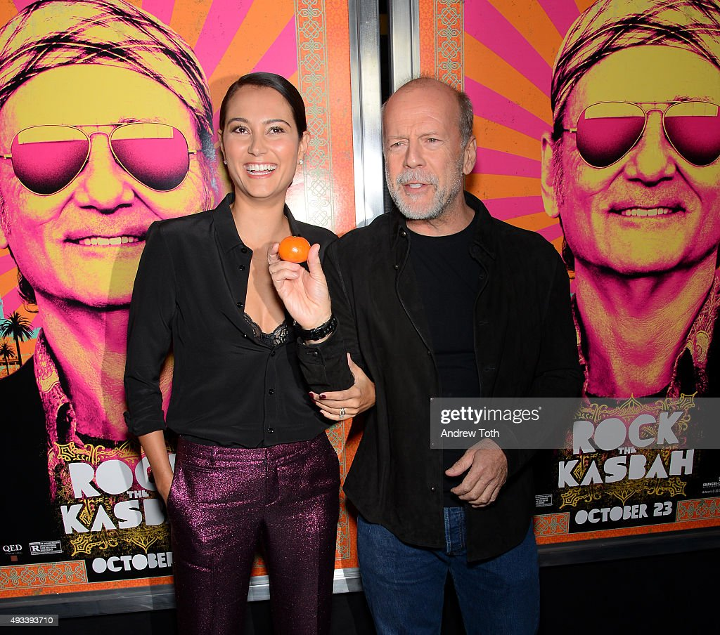 Emma Heming and Bruce Willis attend 'Rock The Kasbah' New York premiere at AMC Loews Lincoln Square 13 theater on October 19, 2015 in New York City.