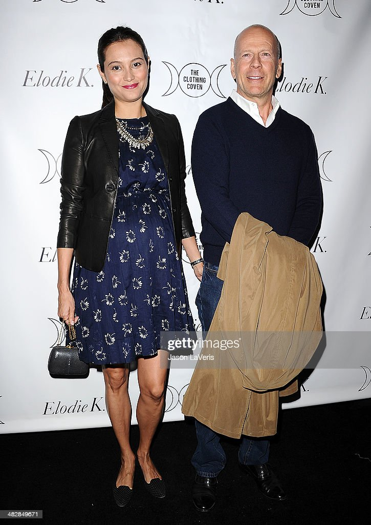 Emma Heming and Bruce Willis attend the launch of 'The Clothing Coven' at Elodie K. on April 4, 2014 in West Hollywood, California.