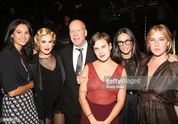 Emma Heming Rumer Willis father Bruce Willis sister Tallulah Belle Willis mother Demi Moore and sister Scout LaRue Willis pose backstage as Rumer...