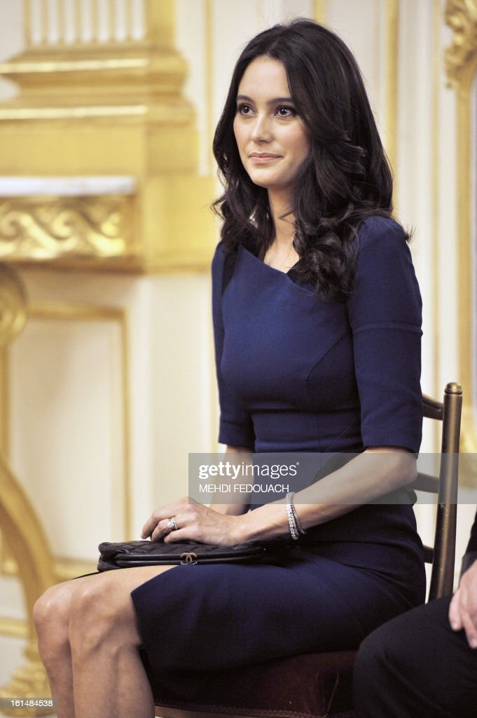 Emma Heming, wife of US actor Bruce Willis attends a ceremony during which Bruce Willis has been awarded as Commandeur des Arts et lettres (Commander in the Order of Arts and Letters) by French Culture minister at the Culture ministry in Paris on February 11, 2013.