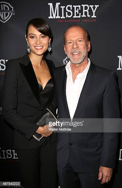 Emma Heming Willis and Bruce Willis attend the Broadway opening night performance after party for 'Misery' at TAO Downtown on November 15 2015 in New...