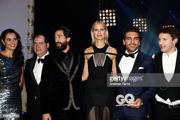 Emma HemingWillis José RedondoVega Adrien Brody Karolina Kurkova Elyas M'Barek and James Blunt are seen on stage at the GQ Men Of The Year Award 2014...