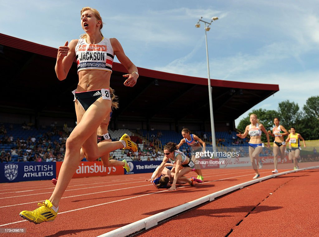 Emma Jackson of C Stoke avoids a collision in the Women's 1500 Metres Final during the Sainsbury's British Athletics World Trials and UK & England Championships at Birmingham Alexander Palace on July 14, 2013 in Birmingham, England.