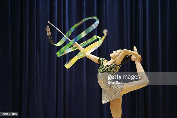 Emma Jay performs with ribbon during the 2005 Visa Championships Rhythmic AllAround Competition on August 11 2005 at the Indianapolis Convention...