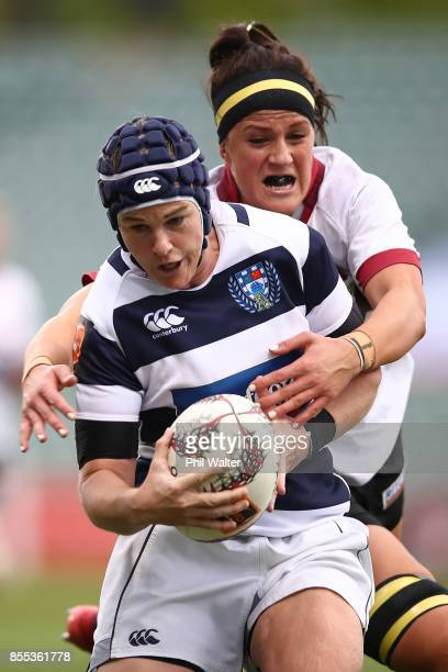 Emma Jensen of Aucklan is tackled during the round five Farah Palmer Cup match between North Harbour and Auckland at QBE Stadium on September 29 2017...