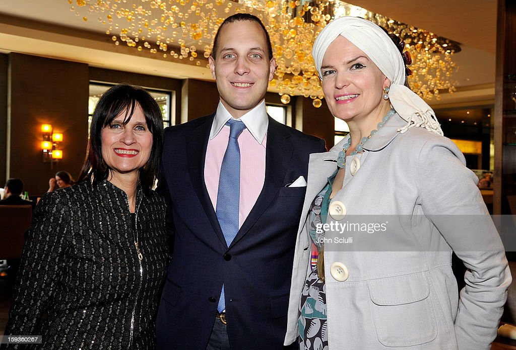 Emma Joy Kitchener, Lord Frederick Windsor and Sharon Harroun Peirce attend a Golden Globe lunch hosted by BritWeek chairman Bob Peirce honoring Julian Fellowes, Gareth Neame and Michelle Dockery at Four Seasons Hotel Los Angeles at Beverly Hills on January 12, 2013 in Beverly Hills, California.