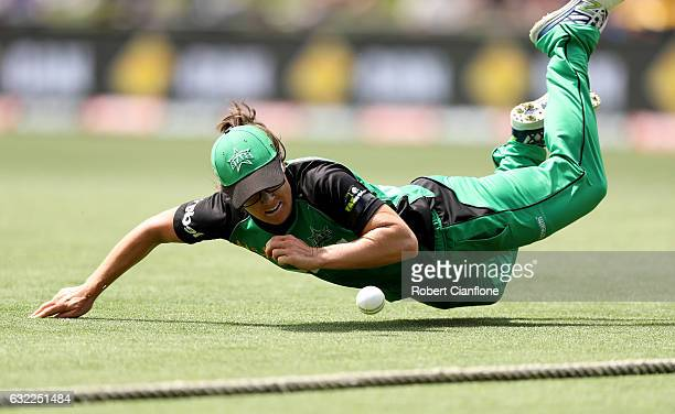 Emma Kearney of the Melbourne Stars attempts to stop a boundary during the Women's Big Bash League match between the Hobart Hurricanes and the...