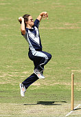 Emma Kearney of the Spirit bowls during the WNCL match between the Victoria Spirit and the New South Wales Breakers at Manuka Oval on November 22...