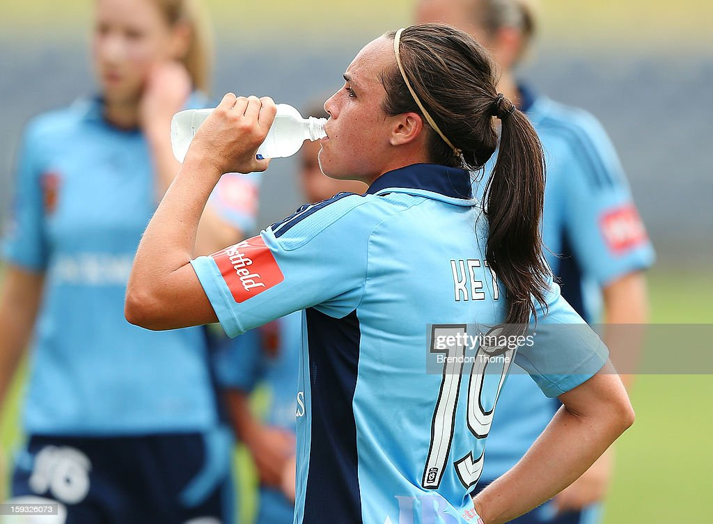 Emma Kete of Sydney drinks water as players take a drinks break from the heat during the round 12 W-League match between the Western Sydney Wanderers and Sydney FC at Campbelltown Sports Stadium on January 12, 2013 in Sydney, Australia.