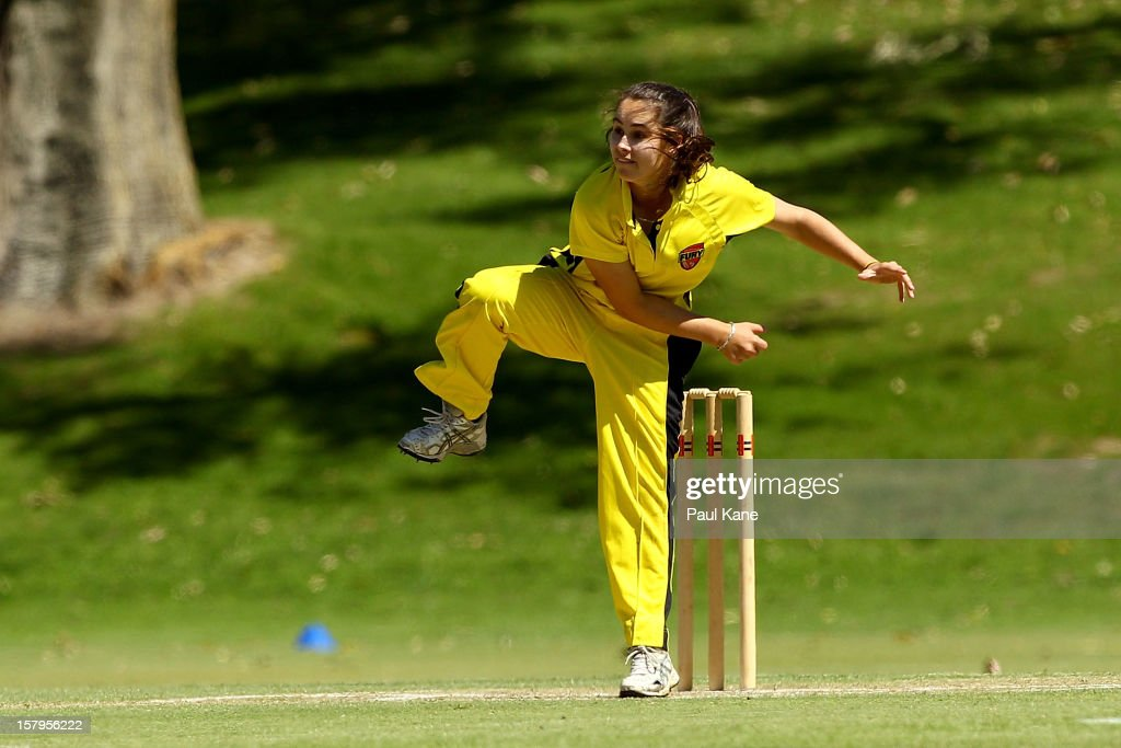 Emma King of the Fury bowls during the WNCL match between the Western Australia Fury and the South Australia Scorpions at Christ Church Grammar Playing Fields on December 8, 2012 in Perth, Australia.
