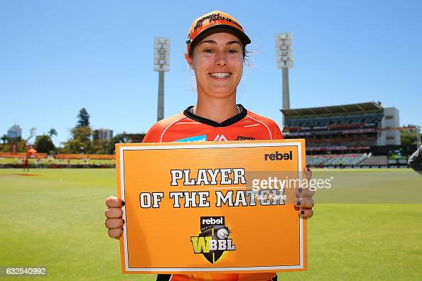 Emma King of the Scorchers poses with the player of the match award during the Women's Big Bash League match between the Perth Scorchers and the...