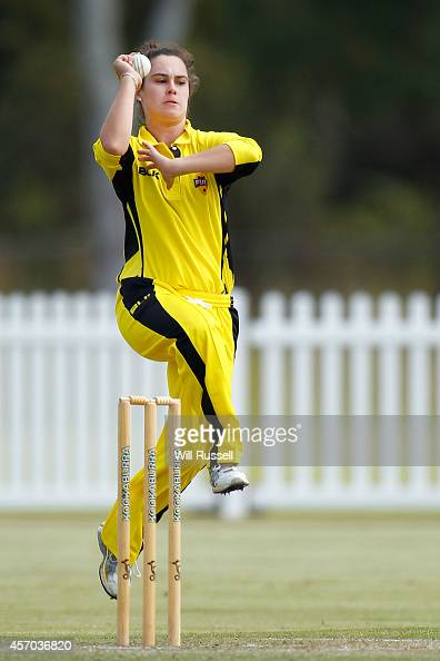 Emma King of The Western Fury bowls during the WNCL match between Western Australia and Queensland at Murdoch University on October 11 2014 in Perth...
