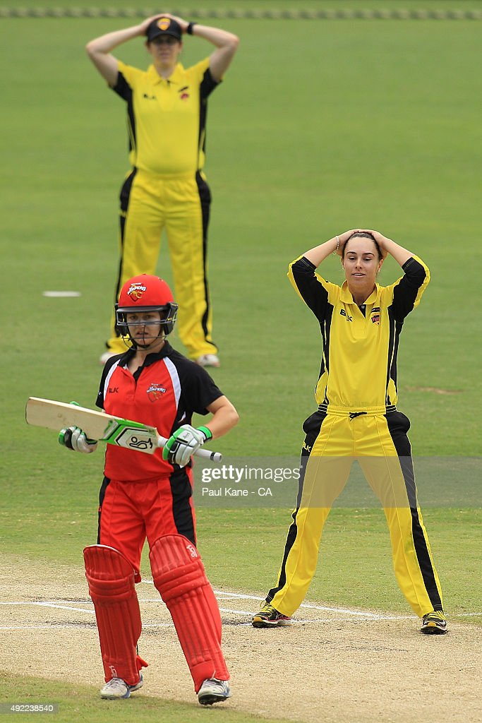 Emma King of Western Australia reacts after a delivery during the round one WNCL match between Western Australia and South Australia at WACA on...