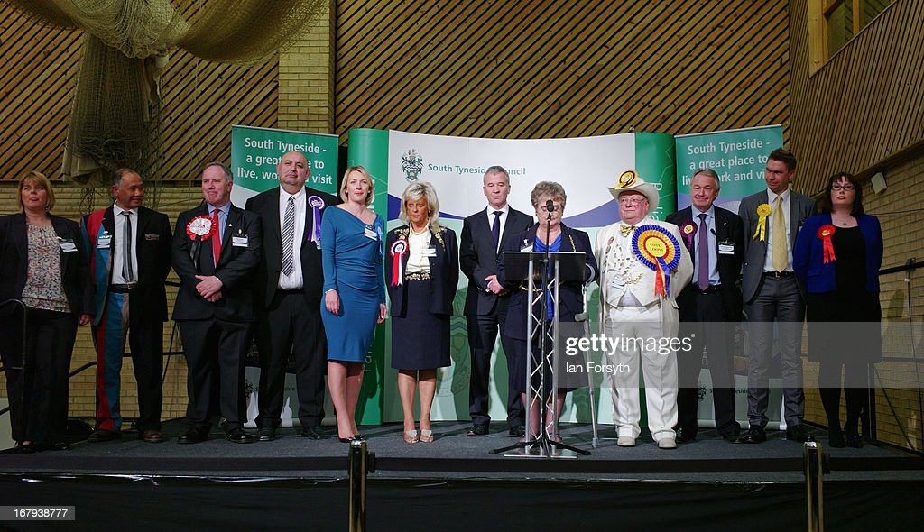 Emma Lewell-Buck (R) of the Labour Party is pictured with the other candidates as she is announced the winner in the byelection on May 2, 2013 in South Shields, England. The byelection was called following the resignation of the former Foreign Secretary David Miliband.