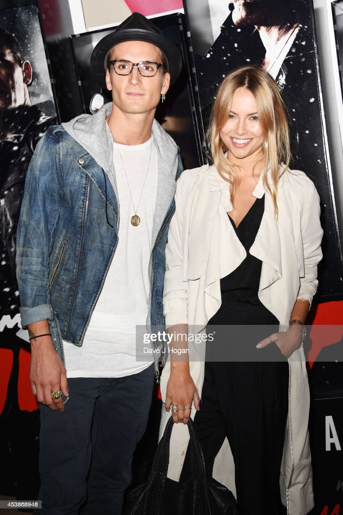 Emma Lou and Olivier Proudlock attends a VIP screening of 'Sin City 2' at Ham Yard Hotel on August 20, 2014 in London, England.