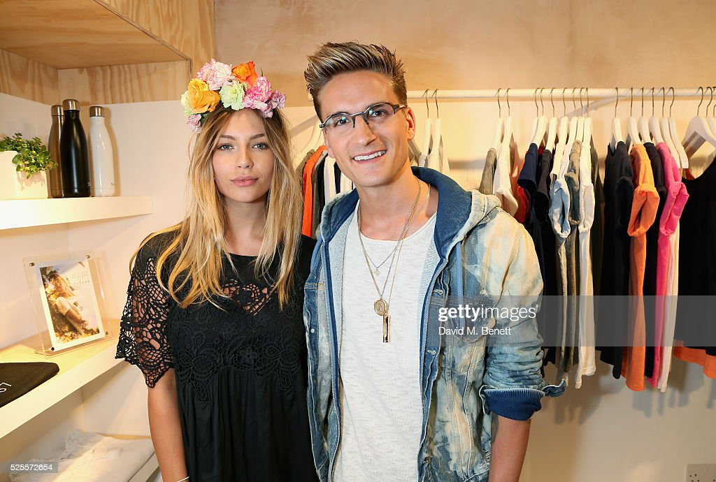 Emma Louise Connolly and <a gi-track='captionPersonalityLinkClicked' href=/galleries/search?phrase=Oliver+Proudlock&family=editorial&specificpeople=9079738 ng-click='$event.stopPropagation()'>Oliver Proudlock</a> attend the launch of the first UK Velvet by Graham and Spencer store at St Christopher's Place on April 28, 2016 in London, United Kingdom.