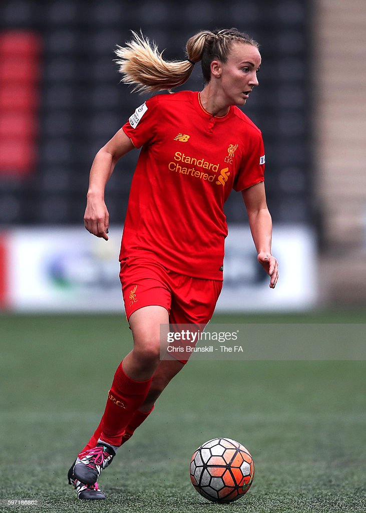 Emma Lundh of Liverpool Ladies FC in action during the FA WSL match between Liverpool Ladies FC and Doncaster Rovers Belles at the Halton Stadium on...