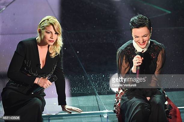 Emma Marrone and Arisa attend the opening night of the 65th Festival di Sanremo 2015 at Teatro Ariston on February 10 2015 in Sanremo Italy
