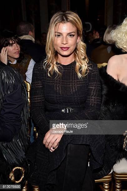 Emma Marrone attends the Francesco Scognamiglio show during Milan Fashion Week Fall/Winter 2016/17 on February 24 2016 in Milan Italy