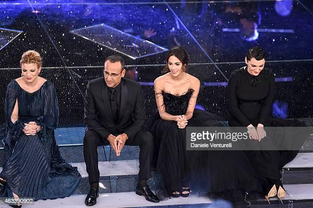 Emma Marrone Carlo Conti Rocio Munoz Morales and Arisa attend the Fourth night of 65th Festival di Sanremo 2015 at Teatro Ariston on on February 13...