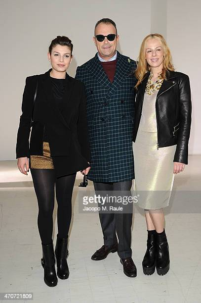Emma Marrone Cesare Cunaccia and Natasha Slater attend the Costume National show as part of Milan Fashion Week Womenswear Autumn/Winter 2014 on...