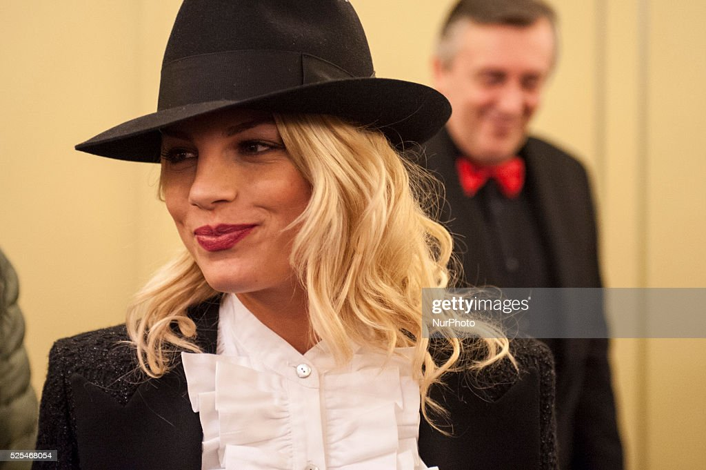 Emma Marrone during a presentation to the press at Casino' of Sanremo on February 8 2015