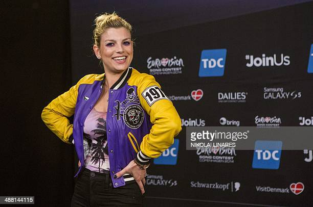 Emma Marrone representing Italy at the Eurovision Song Contest with her song 'La mia citta' poses during a Meet and Greet on May 4 2014 in Copenhagen...