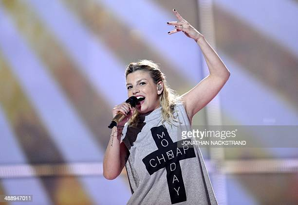 Emma Marrone representing Italy perform the song 'La Mia Citta' during the dress rehearsal for the Eurovision Song Contest 2014 Grand Final in...