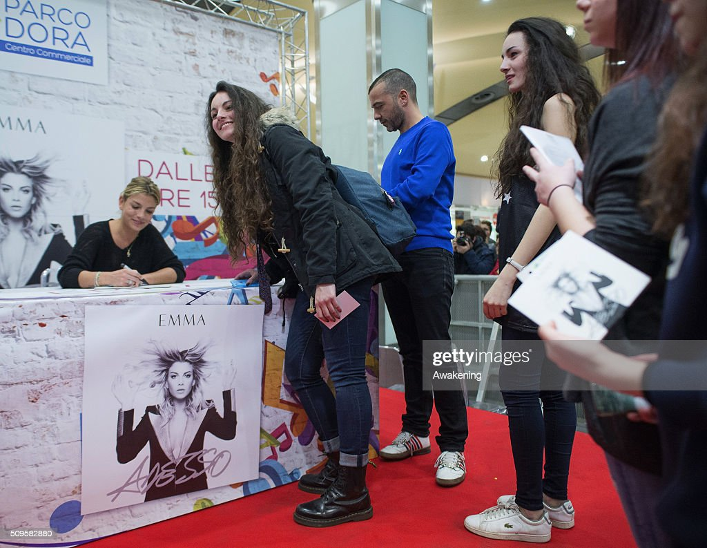 Emma Marrone signs autographs during the presentation of 'Adesso' on February 11, 2016 in Turin.