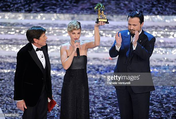Emma Marrone winner of the 62th Sanremo Song Festival shows her trophy on stage at the Ariston Theatre on February 18 2012 in Sanremo Italy